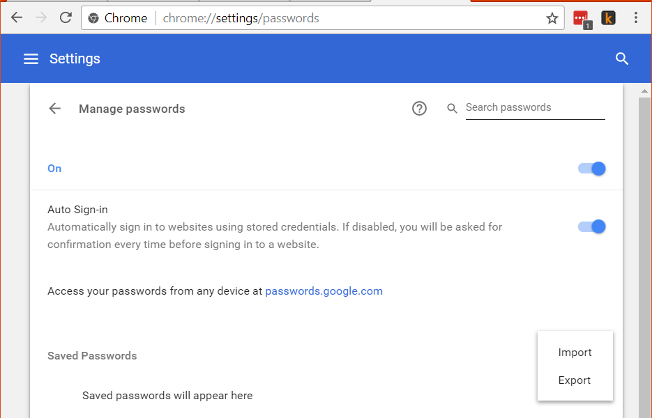 Google Chrome import and export saved passwords