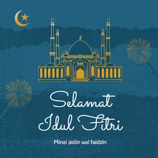 """Gambar bertuliskan """"Selamat Idul Fitri 1441 H Minal Aidin wal faidzin"""""""