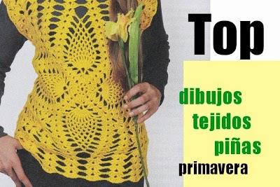 Top amarillo Crochet con dibujos tejidos