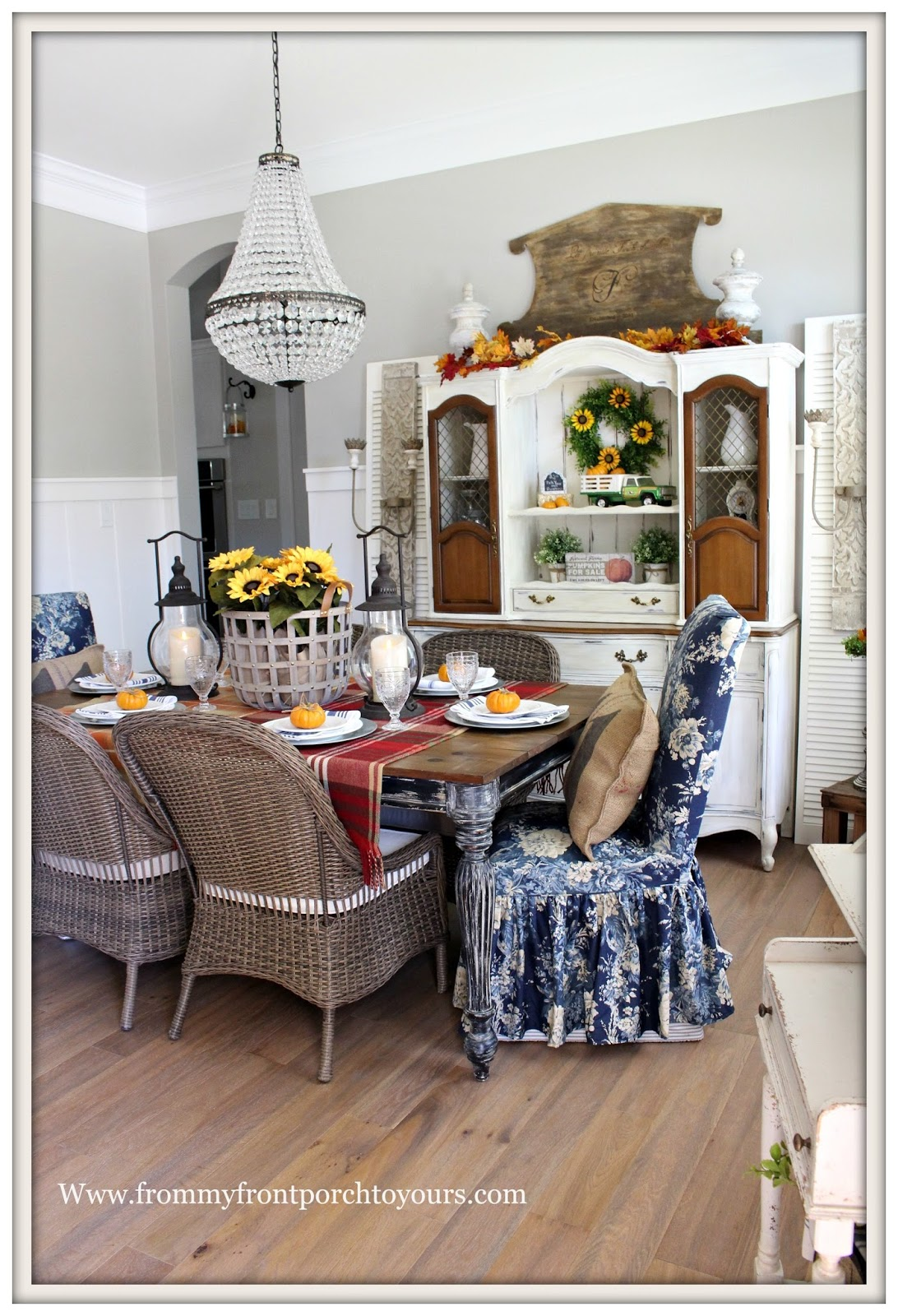 French Farmhouse Style Fall Dining Room Carriage House Lanterns Pottery Barn Chandlier Basket