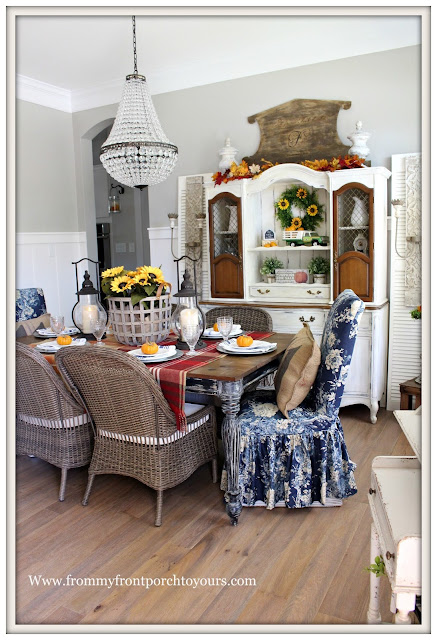 French Farmhouse Style Fall Dining Room-Carriage House Lanterns-Pottery Barn Chandlier-Basket of Sunflowers-From My Front Porch To Yours