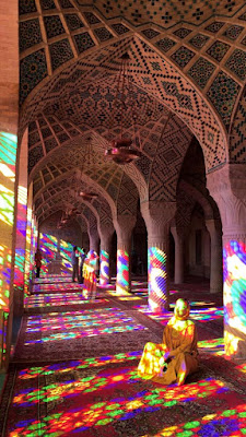 "The Nasīr al-Mulk Mosque in Shiraz, Iran. From outside it looks like a conventional mosque, but inside there is something more. The mosque is called by many different names. Mostly known as the ""Pink Mosque"", the mosque comes to life with the sunrise and colours dance throughout the day like whirling dervishes."
