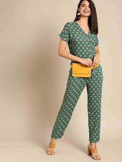 women-green-mustard-printed-basic-jumpsuit
