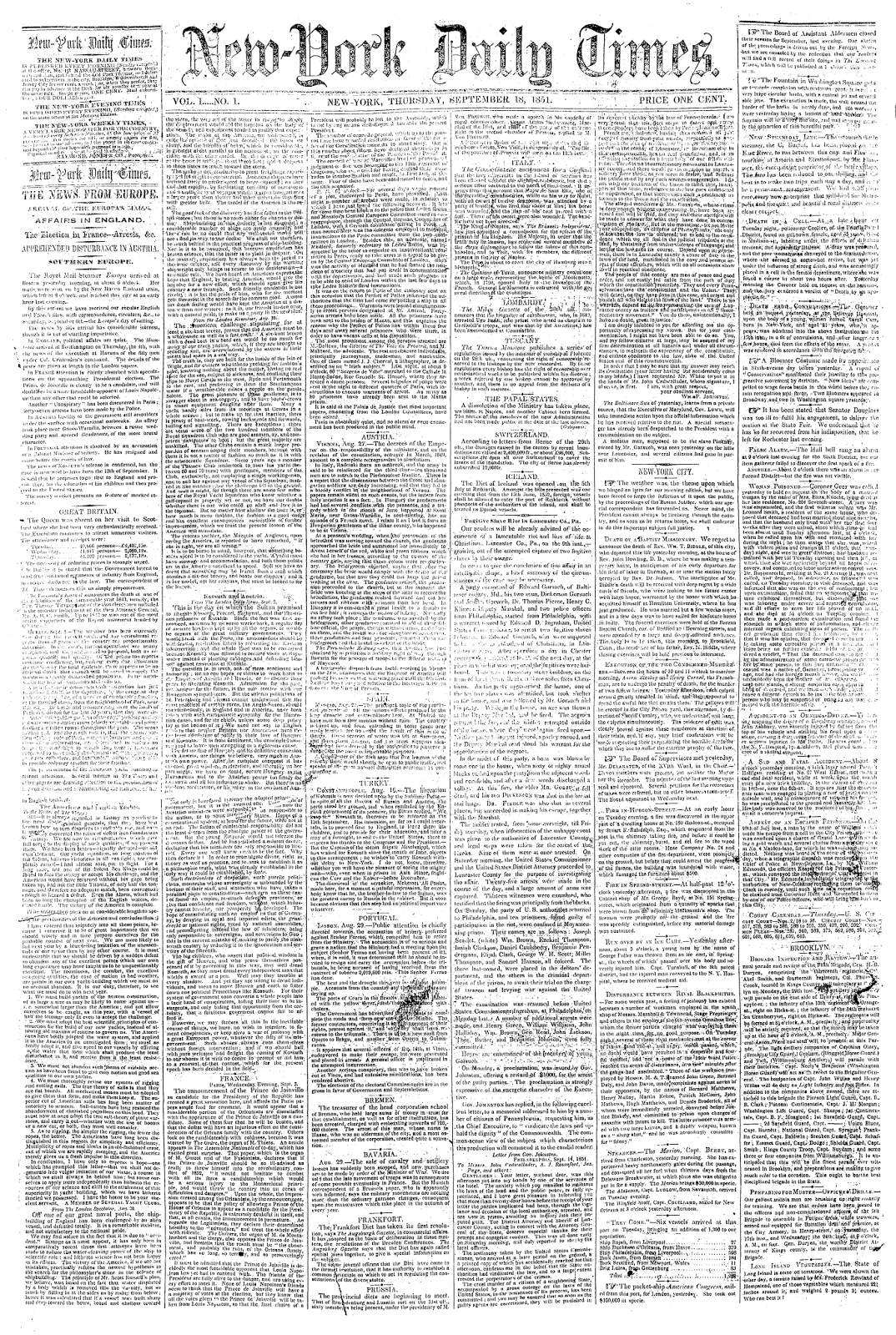 The New York Times, first issue