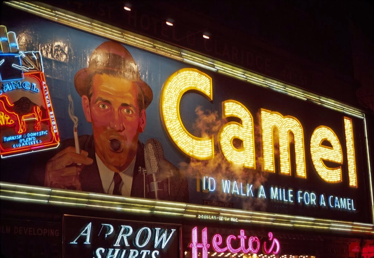 25 vintage pictures of smoking camel signs in times square