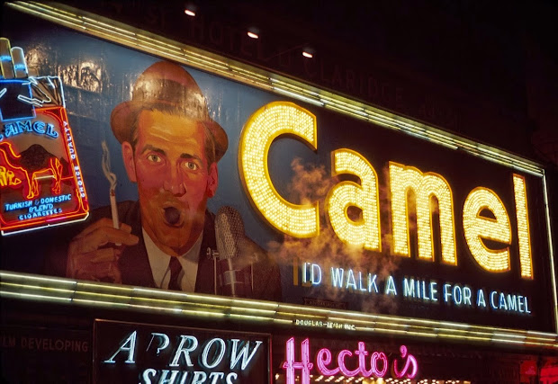Vintage Of Smoking Camel Signs In Times Square