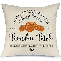 Throw Pillow Cover with Pumpkins and Farmhouse Style Text Printed on