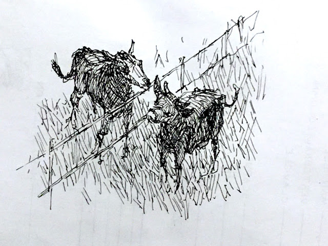 Pen and ink sketch of horse and cow socializing over a fence.