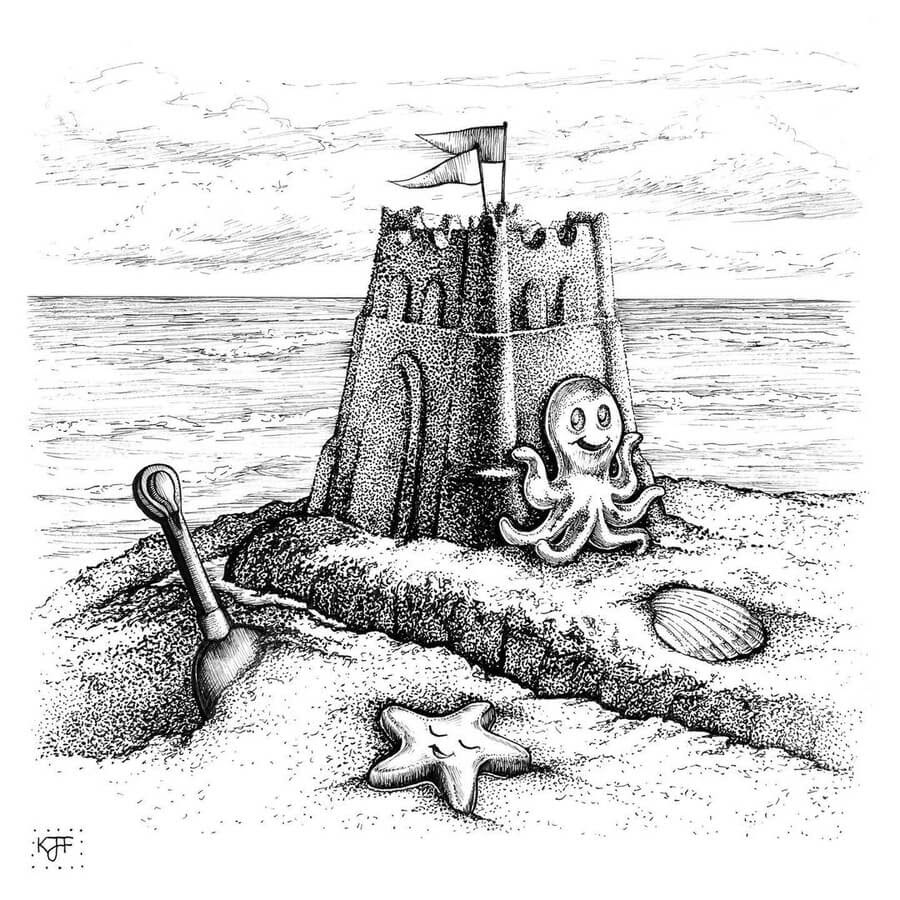 09-Octopus-and-the-sandcastle-Kristin-Frost-www-designstack-co