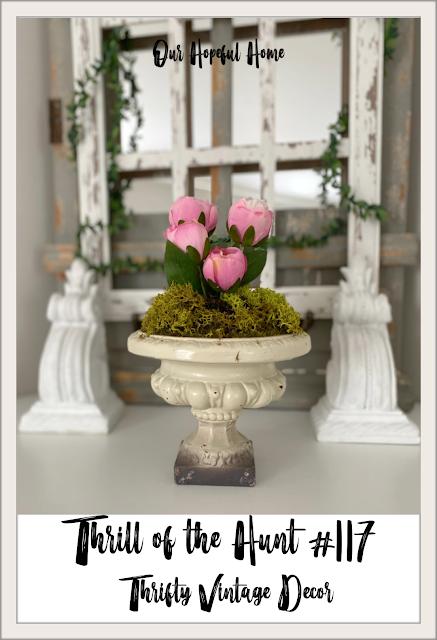 faux pink tulips vintage urn planter mantel decor