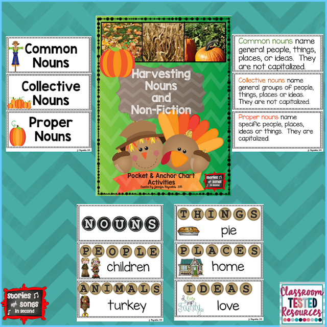 Incorporating a study of non-fiction nouns into your Thanksgiving unit is easy with resources that will help primary grade students sort objects from long ago and today!