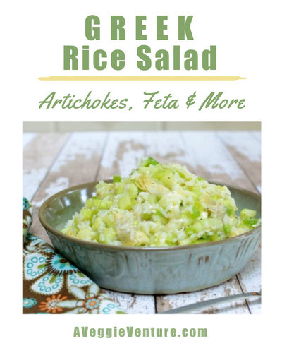 Greek Rice Salad with Artichokes & Feta, another easy salad ♥ AVeggieVenture.com. Fresh & Seasonal. Great for Meal Prep. Weight Watchers Friendly. Vegetarian. Gluten Free.