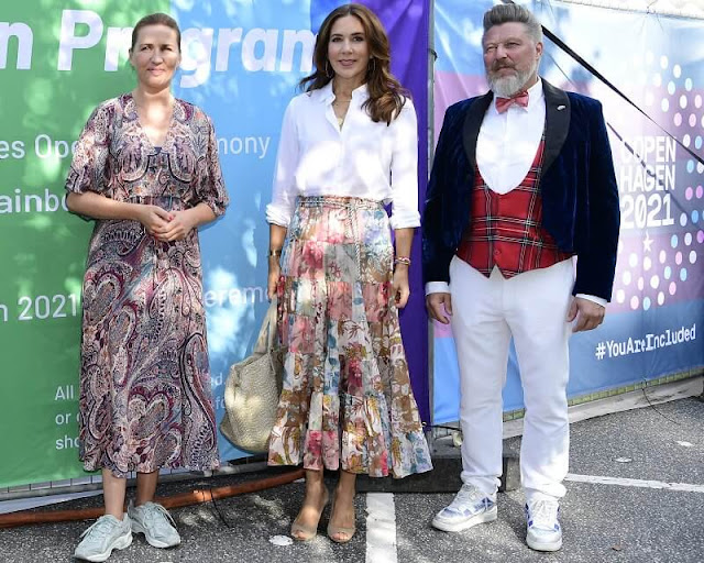 Crown Princess Mary wore a new cassia patch floral-print cotton midi skirt by Zimmermann. Rebekka Notkin necklace
