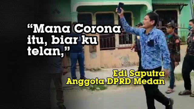 Anggota DPRD Medan, Ditegur Polisi Malah Bilang: Mana Corona tu Biar Kutelan!