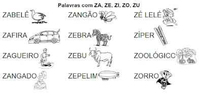 Lista de palavras e desenhos da família silábica ZA-ZE-ZI-ZO-ZU