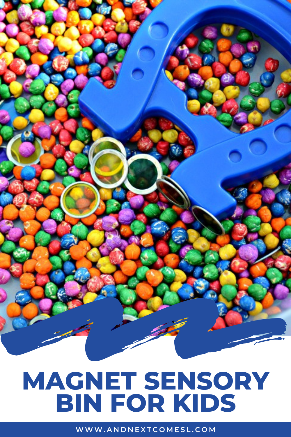 Colorful magnet sensory bin with rainbow dyed chickpeas - a fun activity for exploring magnets for toddlers and preschool kids