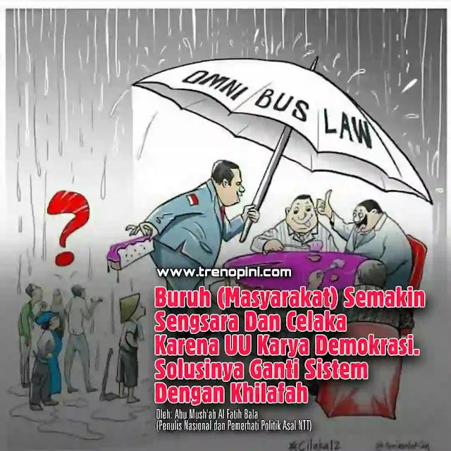 RUU Omnibus Law akhirnya tetap disahkan menjadi Undang-Undang meskipun banyak mengandung poin-poin kontroversial (baca: menzhalimi buruh). Ada 13 poin yang dianggap merugikan para pekerja.