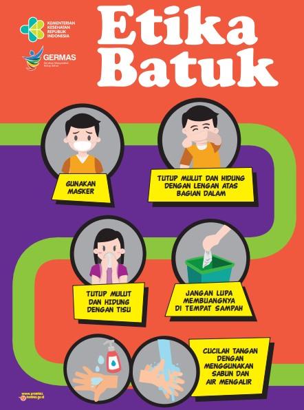 Poster Tentang Etika Batuk untuk Cegah Coronavirus COVID-19