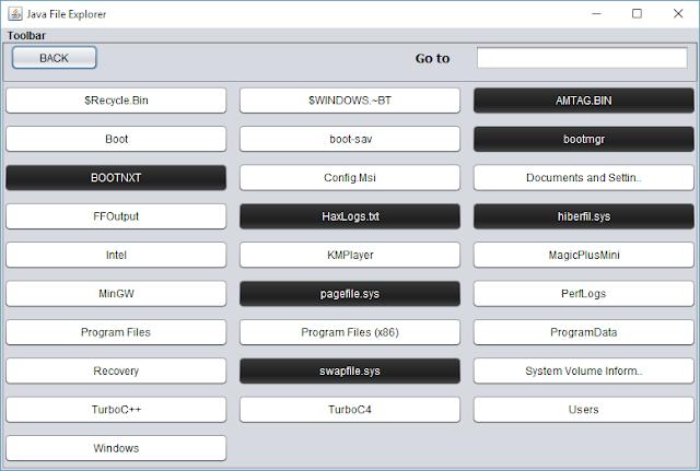 Main Window screenshot for Java File Explorer