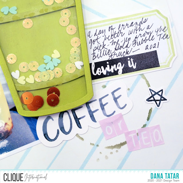 Coffee Ring Splatter Stenciled Paper with a Chipboard Coffee Cup Sequin Shaker on a Coffee Lovers Scrapbook Layout