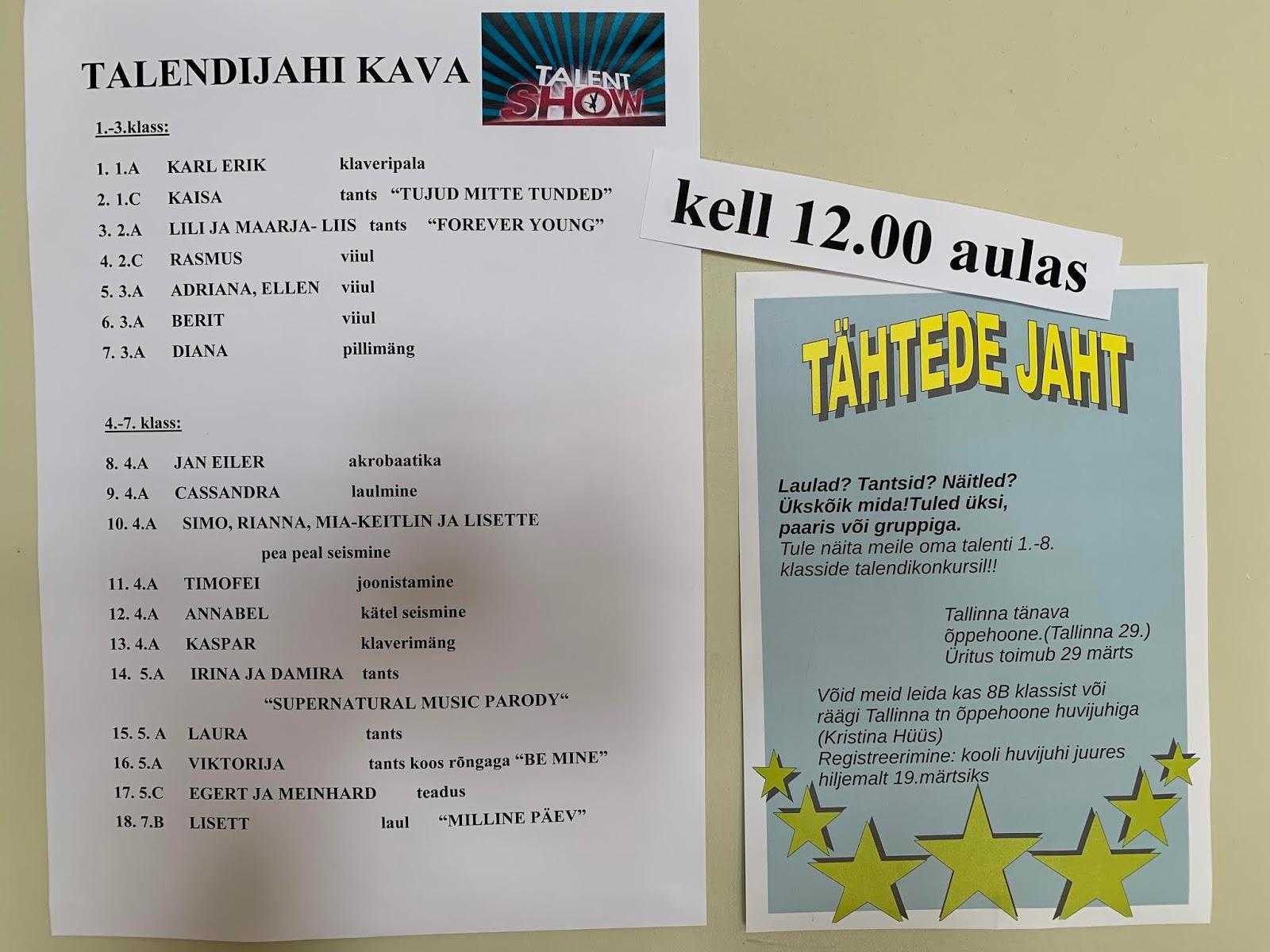 c914f9f570e 29. märtsil toimus Rakvere Gümnaasiumi Tln tn õppehoones talendišõu