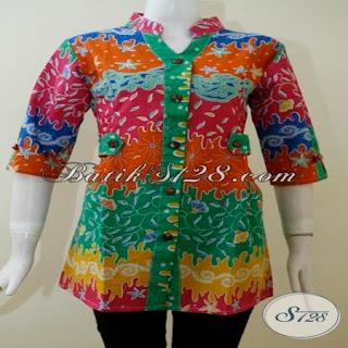 gambar model blus modern batik