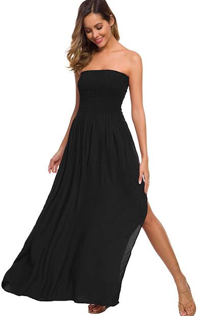 Black Strapless Maxi Dresses For Women