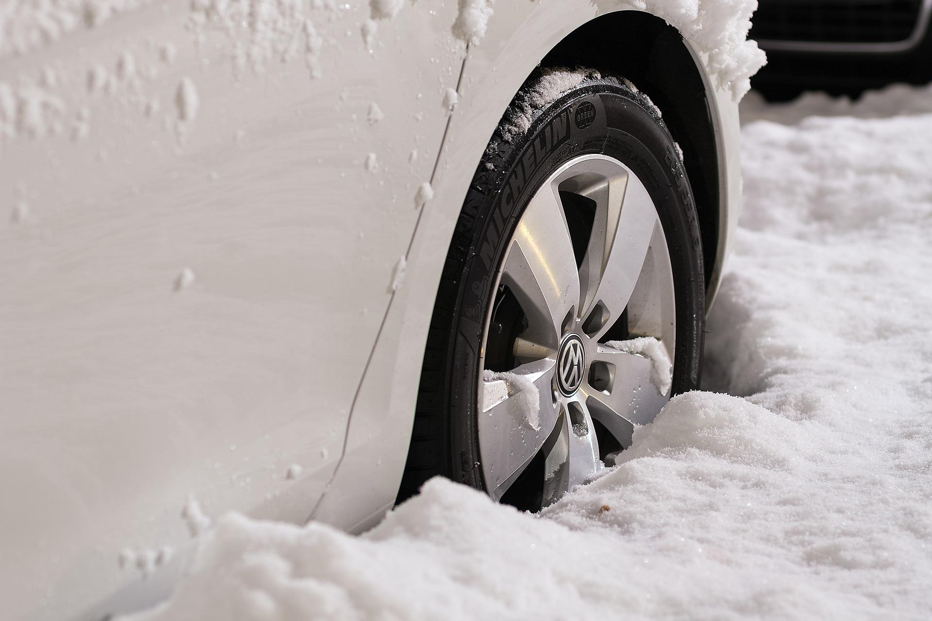Wheel in stuck in snow