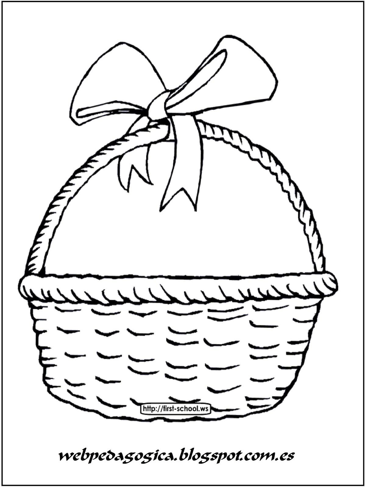 bonita cesta con sus huevos de pascua para colorear web