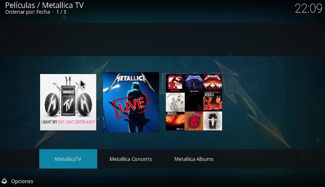 Secciones del addon METALLICA TV