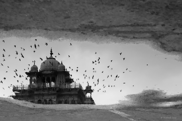 A Black and White Minimal Art Photograph of the Reflection of Albert Hall Museum - Jaipur, in a Water Puddle.