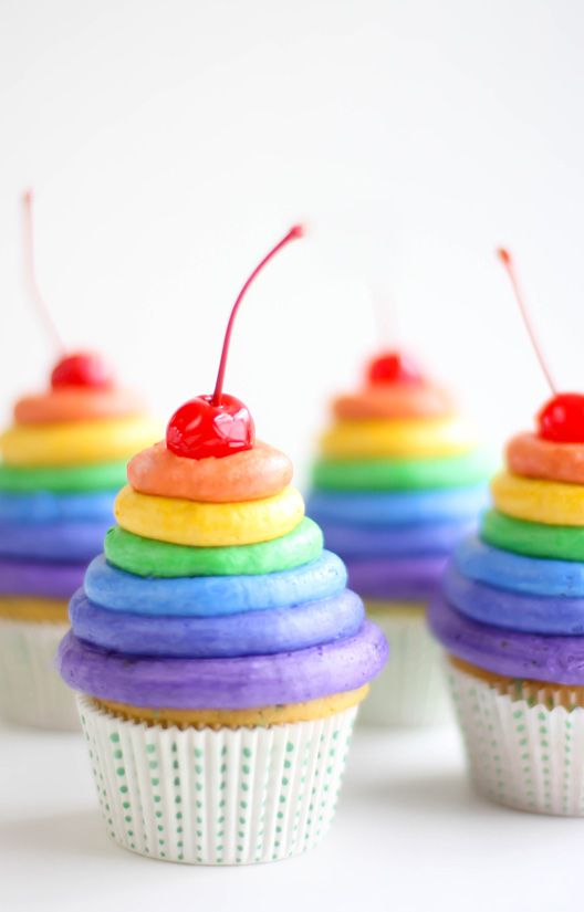 Rainbow Frosting Cupcakes from Sprinkle Bakes