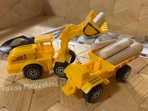 Preschool imaginative construction truck activities