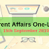 Current Affairs One-Liner: 15th September 2019