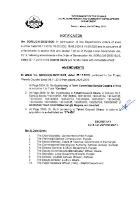DEMARCATION OF TEHSIL COUNCILS AND ABOLISHED TOWN COMMITTEES OF DISTRICT OKARA