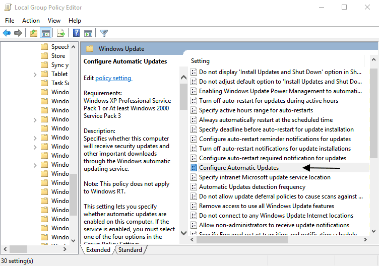 configure updates from group policy editor