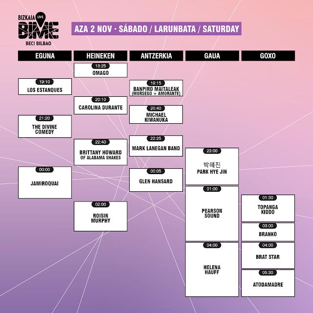 bime, live, 2019, horarios, bilbao, jamiroquai, divine, comedy, brittany, howard, carolina, durante