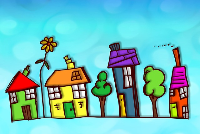 drawing of houses in bright colours to imitate a child's drawing