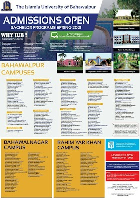 The Islamia University of Bahawalpur Offer/Open Admission & Merit List Schedule in Spring-2021