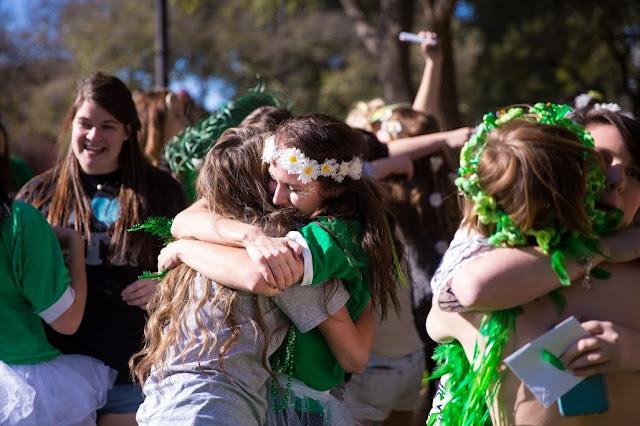 Hugs on bid day at Trinity University