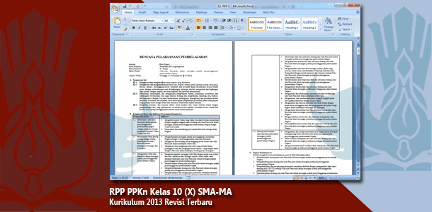 RPP PPKn Kelas 10 (X) SMA-MA Kurikulum 2013 Revisi Terbaru Tahun 2019-2020