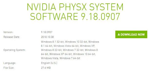 رابط تحميل برنامج PhysX