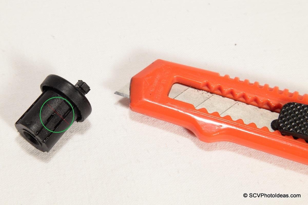 Plastic cylinder flexible arm cut off