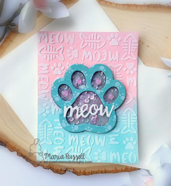 Pawprint Shaker Card by Maria Russell | Pawprint Shaker Die & Meow Stencil by Newton's Nook Designs #newtonsnook #handmade