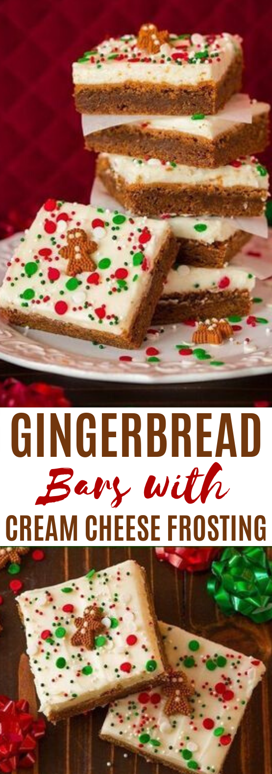 Gingerbread Bars with Cream Cheese Frosting #desserts #bars #christmas #recipes #gingerbread