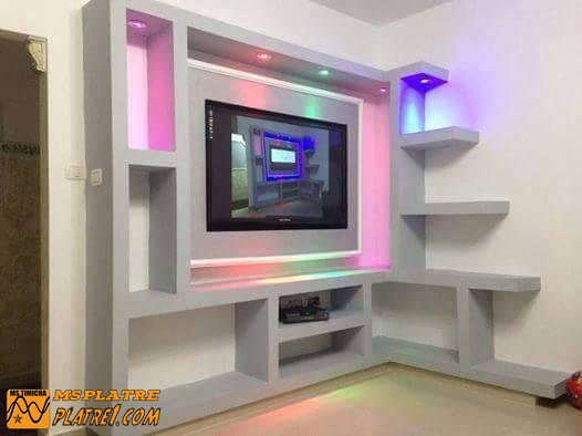 Meuble tv en placoplatre  decoration platre plafond -> Niche Tv Placo