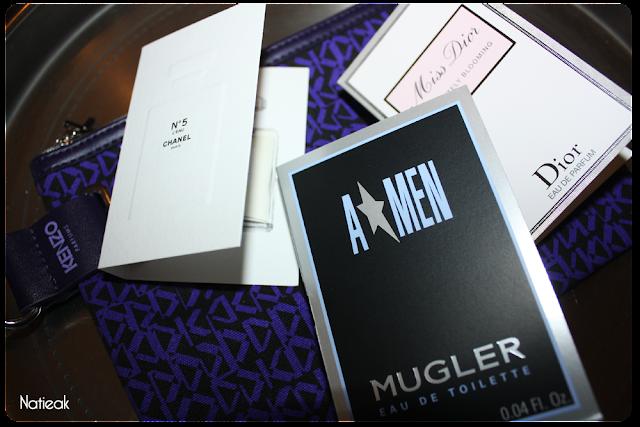 A Men de  Mugler, Chanel n°5 et Miss Dior  en plus d'une pochette Kenzo