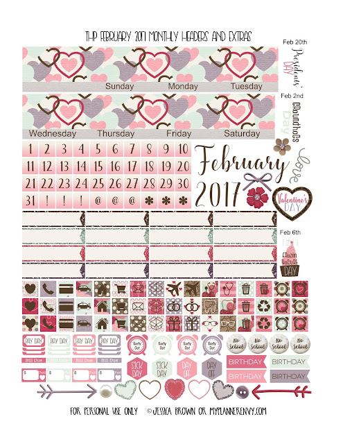 Free Printable February 2017 Monthly Headers and Extras for the Classic Happy Planner from myplannerenvy.com