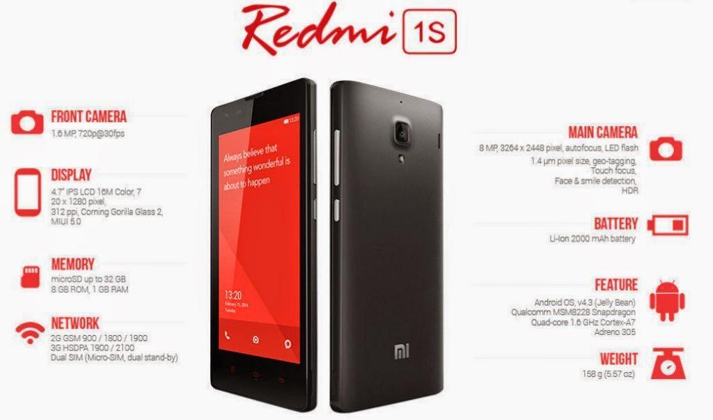 Xiaomi Redmi 1S Resmi dijual Rp. 1,5 juta di Indonesia