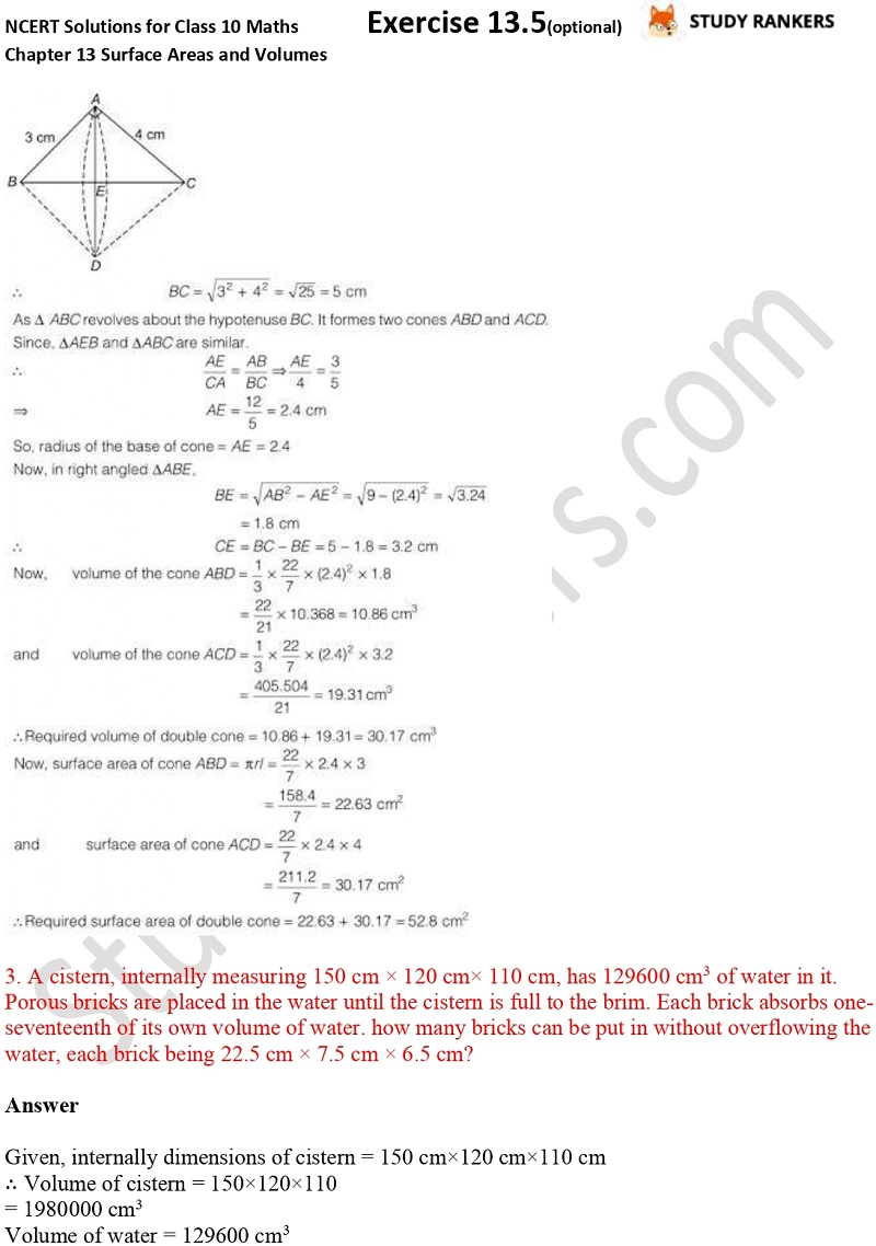 NCERT Solutions for Class 10 Maths Chapter 13 Surface Areas and Volumes Exercise 13.5 Part 2
